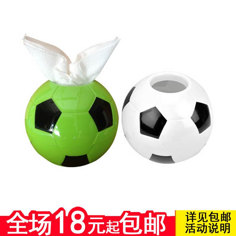 创意足球造型纸巾抽 圆筒形纸巾盒 抽纸盒 卷纸筒 塑料纸抽盒