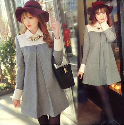 2014秋冬新款女装娃娃领斗篷毛呢外套中长款加大码宽松羊绒大衣