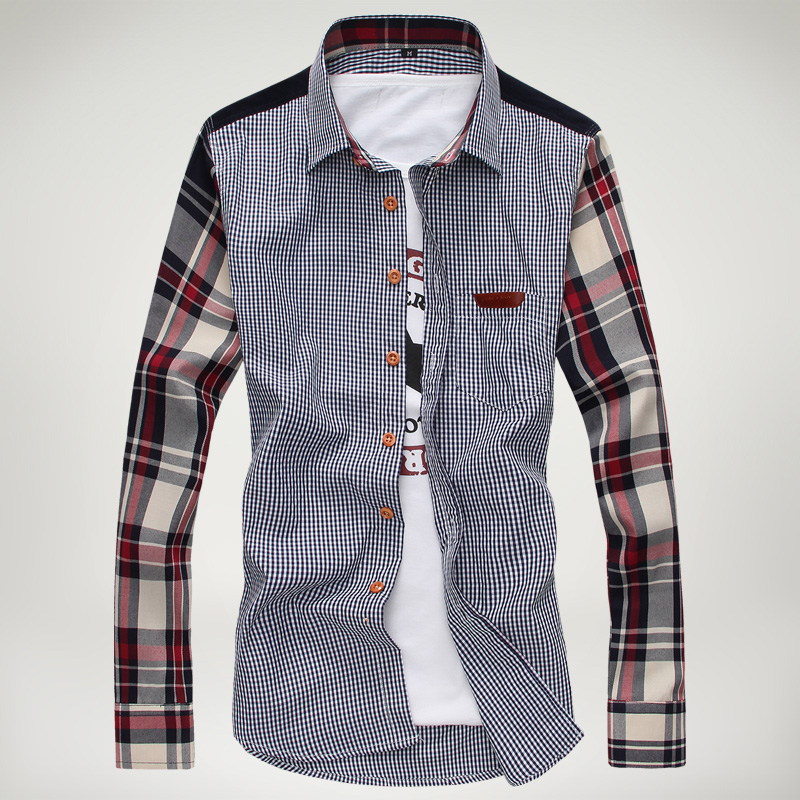 衬衫男长袖春装新款男士长袖格子衬衫 时尚韩版修身 潮男装衬衣男