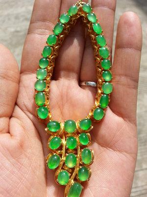翠玺珠宝冰种满绿翡翠A货蛋面套链未镶嵌一手货源批发性价比高