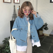 春夏女装2017新款韩版假两件拼接牛仔外套bf宽松破洞毛边短款夹克