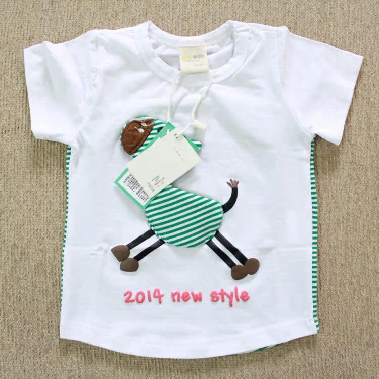 2014新款夏季男童童装 中小童纯棉短袖T恤 4309迷你田果果