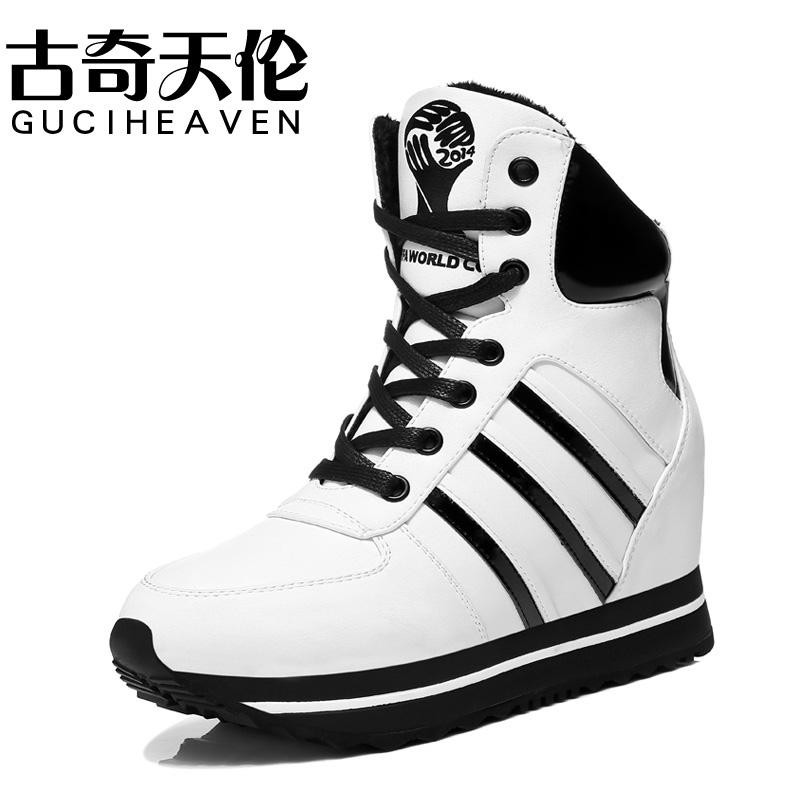 古奇天伦 运动休闲女鞋 厚底内增高雪地靴女短靴 加绒高帮棉鞋子
