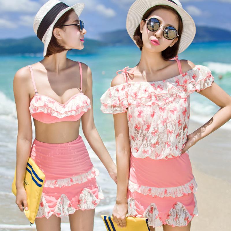 新款韩版比基尼分体三件套泳衣女高腰复古显瘦小胸聚拢钢托游泳衣