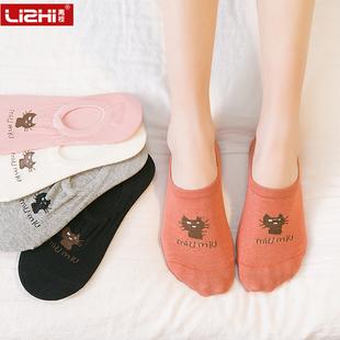 袜子女短袜船袜女纯棉薄款浅口韩国可爱低帮春夏季隐形袜硅胶防滑