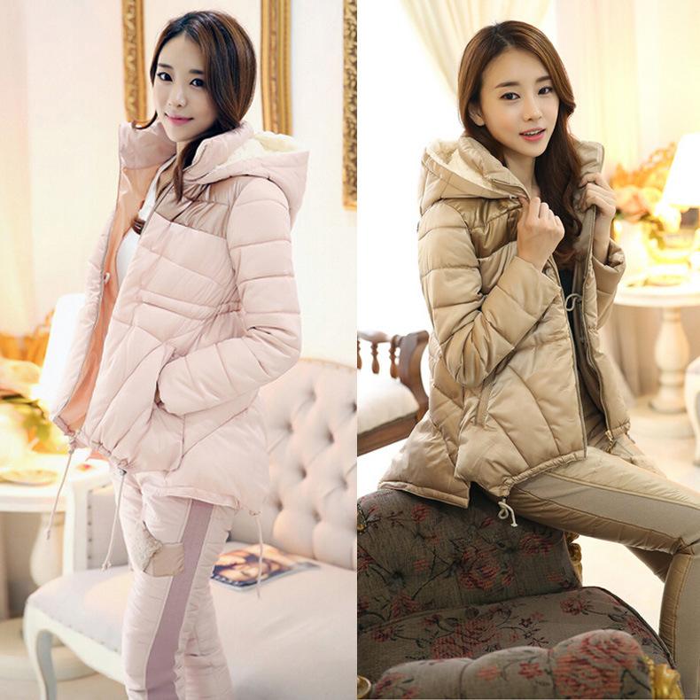 2014冬装新款韩版加厚两件套羽绒服 休闲女装连帽羽绒服套装