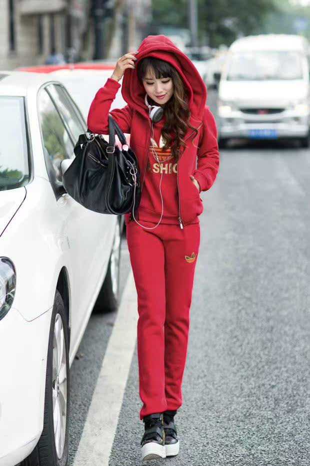 2014秋装新款外套卫衣三件套秋冬季加厚大码韩版运动加绒套装女装