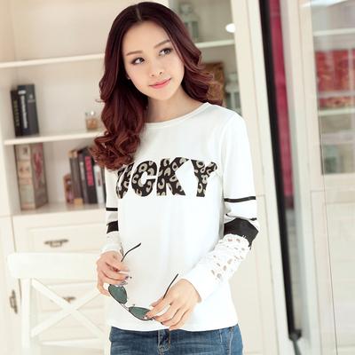 2016春天季韩版新款女装学生圆领蕾丝拼接印花长袖T恤衫打底