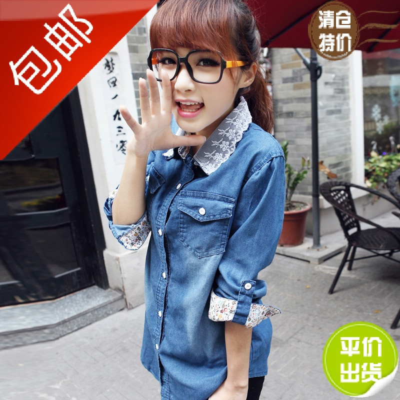 蘑菇街2014秋冬新款女装加厚修身时尚韩版潮流开衫牛仔女衬衫女