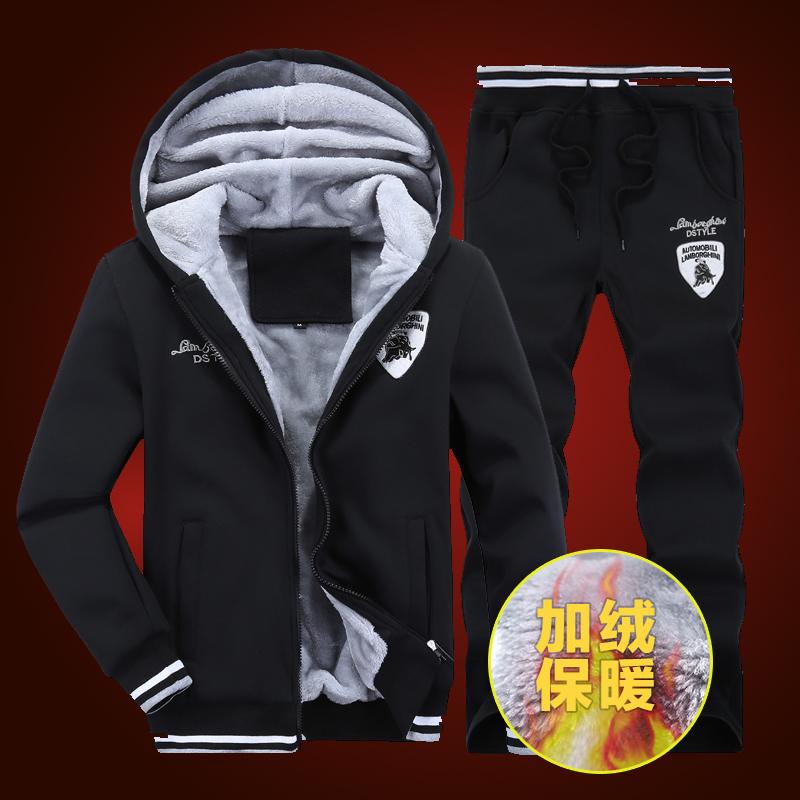 美邦男士外套卫衣套装加绒加厚韩版冬季保暖连帽开衫青少年棒球服