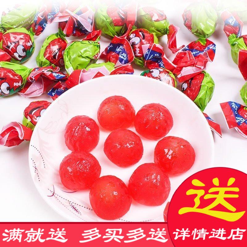俄罗斯进口草莓味果味夹心QQ橡皮喜软糖果散装250g零食特价食品