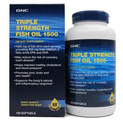 [新年价] 保美国进口GNC深海鱼油软胶囊1500mg120粒中老年三倍鱼油欧米伽3