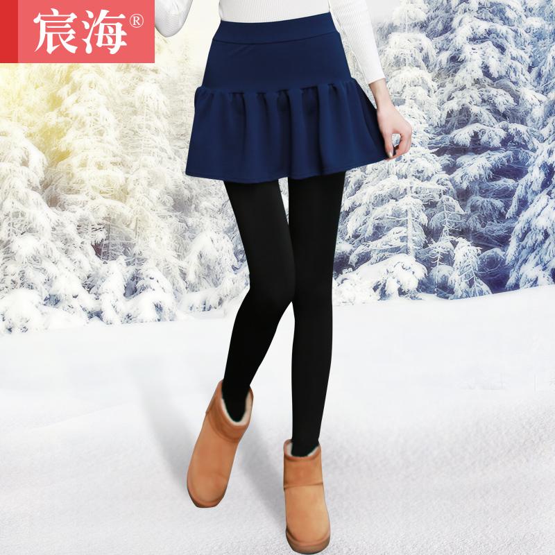 宸海2014冬季加绒加厚保暖假两件纯色花苞蓬蓬裙裤九分打底裤