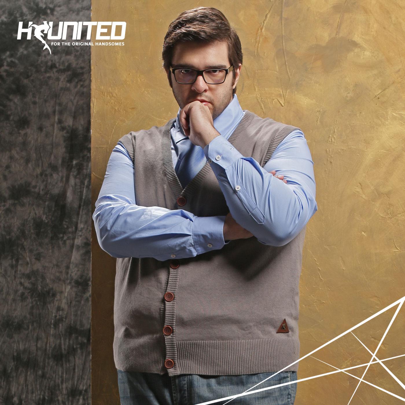 H-UNITED巨鲨大码男装针织背心男加肥加大胖子开衫毛衣背心男宽松