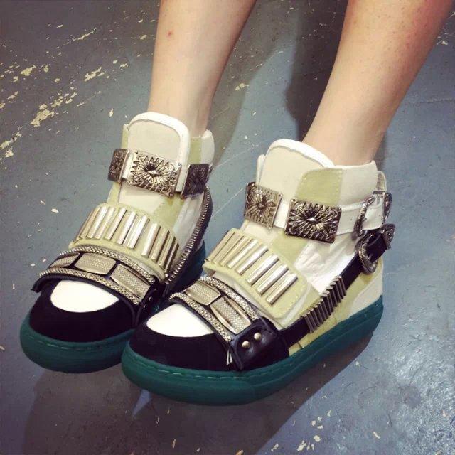 欧洲站14冬新款 GZ女鞋潮 平底内增高 棉靴明星款真皮短靴高帮女