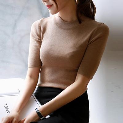 [限时抢购] 欧美2015春季新款女装半高领五分袖针织衫女修身紧身套头中袖打底