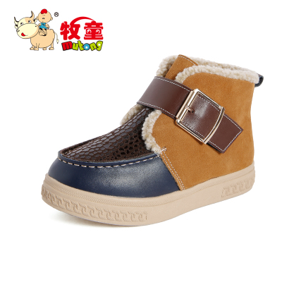 [品牌直销] 牧童童鞋冬款男童棉鞋儿童反绒皮保暖大棉鞋中小童魔术贴潮