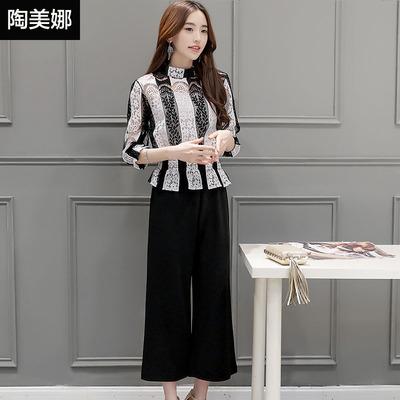 时尚套装女2016春夏韩版气质修身显瘦蕾丝衫两件套休闲七分阔腿裤