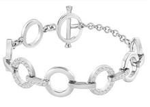 奥地利水晶 银色满钻同心圆环环相扣手链Circle 678223
