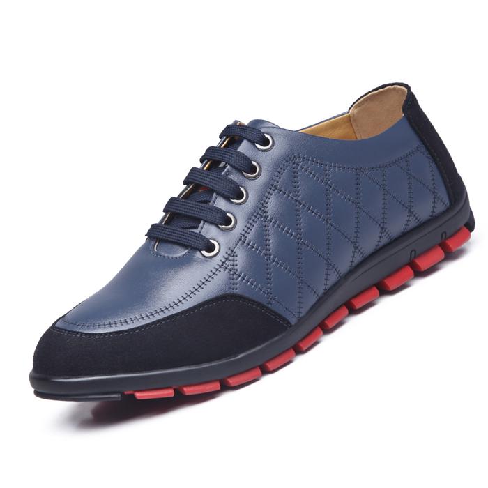 春秋新款男鞋正品真皮时尚男士休闲皮鞋皮鞋透气牛皮鞋系带日常休