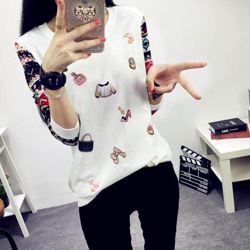 秋装上衣韩版长袖t恤大码女款宽松字母文艺时尚T恤加绒加厚打底衫