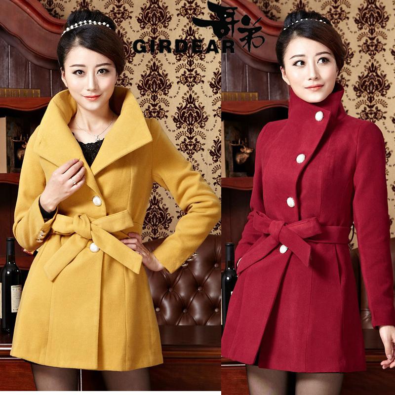 哥弟正品女装羊绒大衣2014秋冬新款中长款修身韩版大码毛呢子外套
