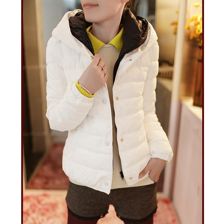 2014秋款女装新款撞色保暖假两件长袖棉衣棉服外套长袖连帽公主袖