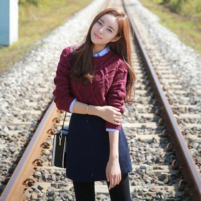 [新款热卖] 秋季套装时尚气质潮学生衬衫毛衣毛呢包臀短裙秋款套装裙三件套
