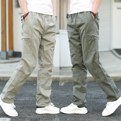 夏季户外运动男裤多口袋裤工装裤男休闲裤大码宽松直筒潮男长裤子