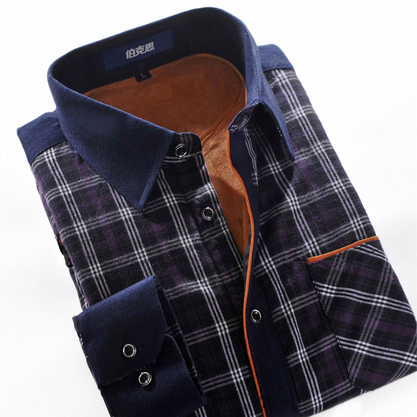 伯克思 2014秋冬新款加绒加厚男士格子印花拼接长袖保暖衬衫