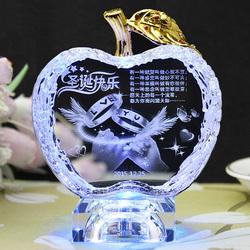 水晶苹果刻字摆件送女友送男友儿童创意圣诞节礼物女生平安夜礼品
