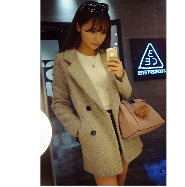 秋冬新款韩版双排扣清新混色厚实韩国 毛呢外套呢大衣外套