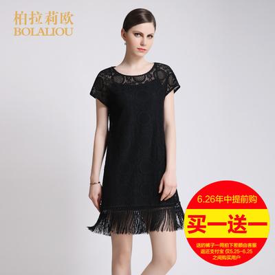 2016夏季新款两件套连衣裙 时尚OL纯黑白圆领套头插肩袖蕾丝中裙