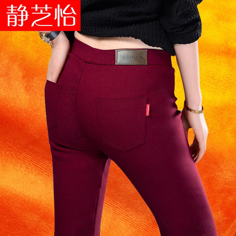 秋冬新款加绒加厚打底裤外穿女士黑色小脚裤弹力紧身高腰裤子女
