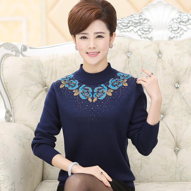 【天天特价】中老年秋冬女装40-50岁妈妈装半高领加厚羊毛衫毛衣