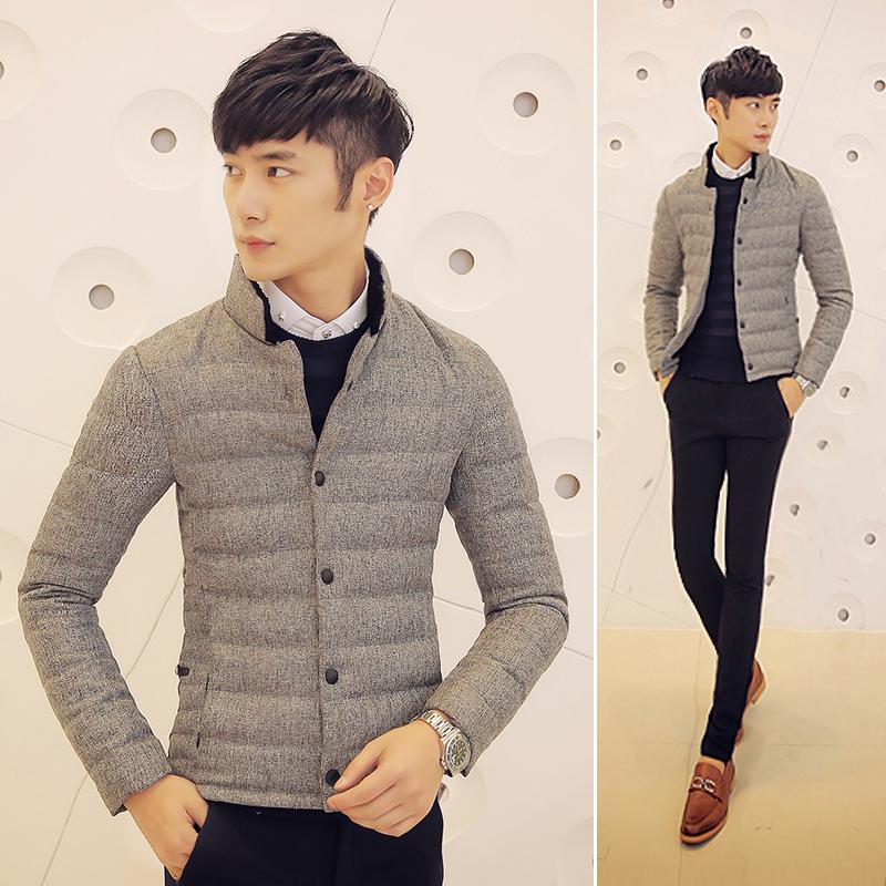 2014新款潮时尚韩版修身短款棒球服 男士羽绒服男棒球领 加厚冬装