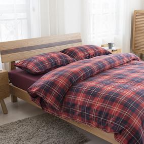 无印良品四件套床上用品水洗棉法兰绒全棉简约格子床笠纯棉四件套