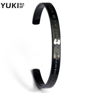 YUKI男士钛钢细手镯欧美时尚个性潮人梦想成真手饰品夜