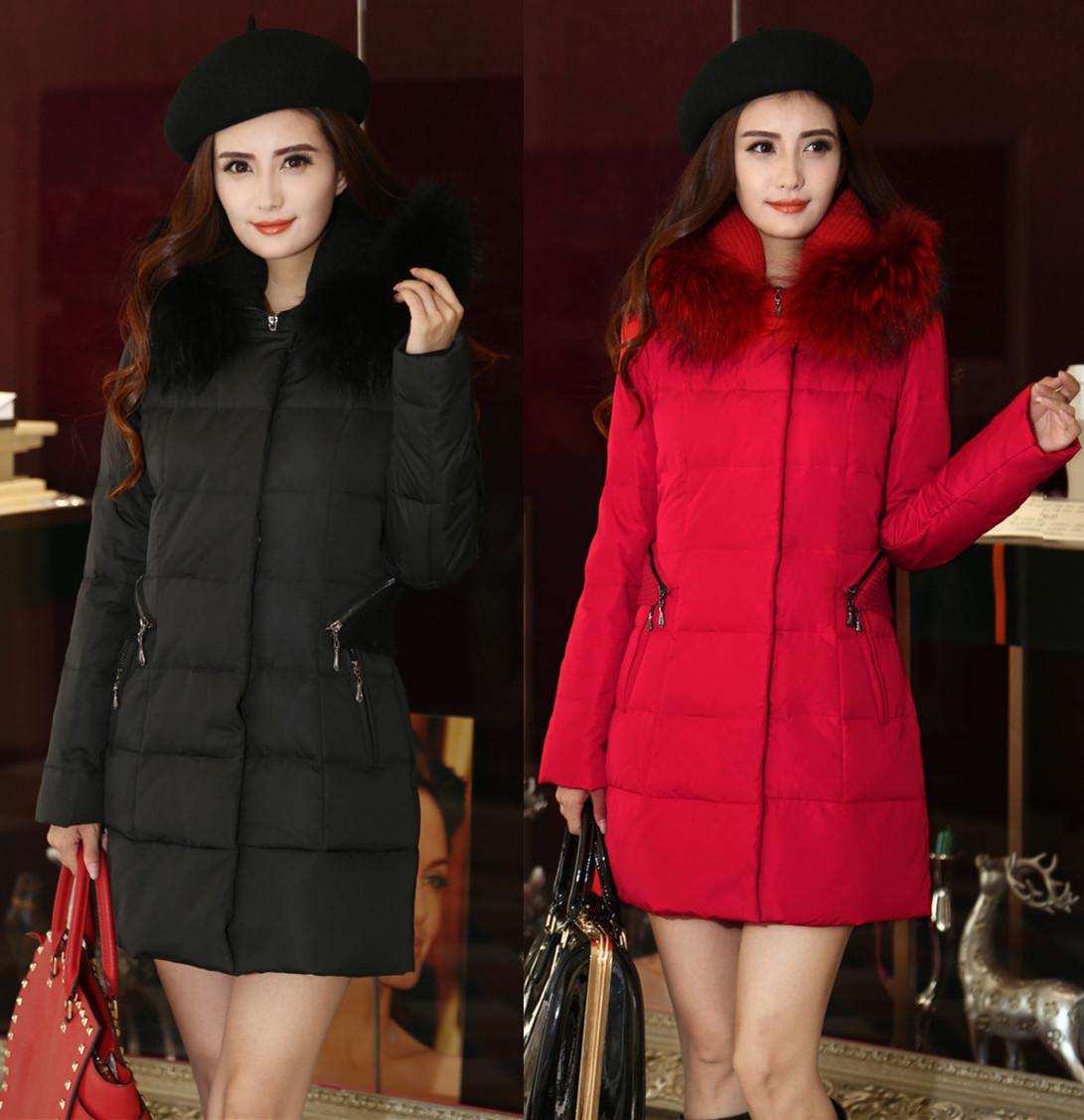 2014冬装新款正品羽绒服女韩版大毛领中长款大码加厚外套潮妈妈装