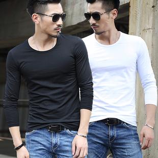 冬秋季加绒男士长袖T恤圆领纯白色体恤衫修身男装紧身上衣服打底