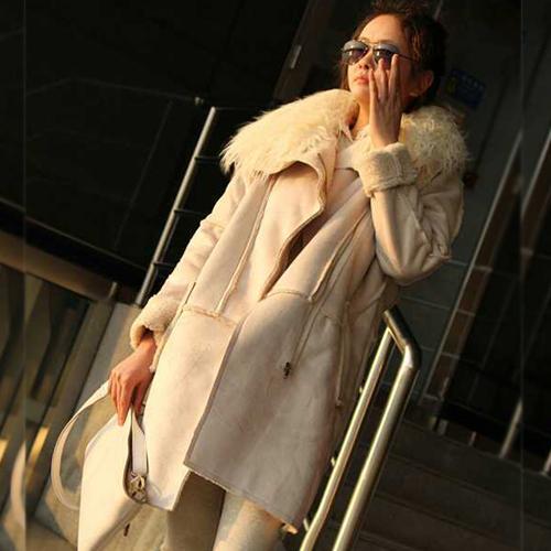 新款韩版鹿皮绒带毛领中长款外套女装大码羊羔绒棉衣大衣大码棉衣