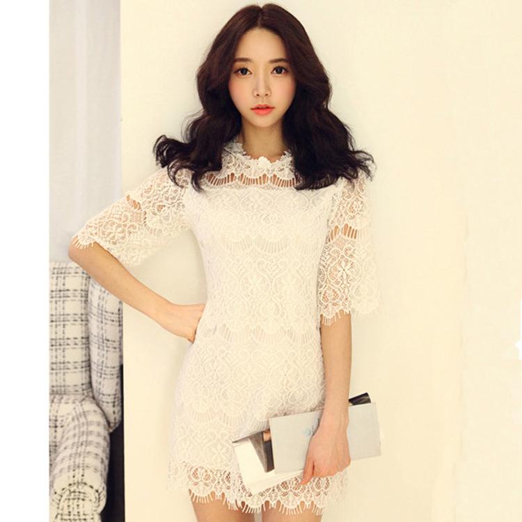 15春季新款韩版女装气质性感修身睫毛蕾丝镂空中袖包臀连衣裙 F71