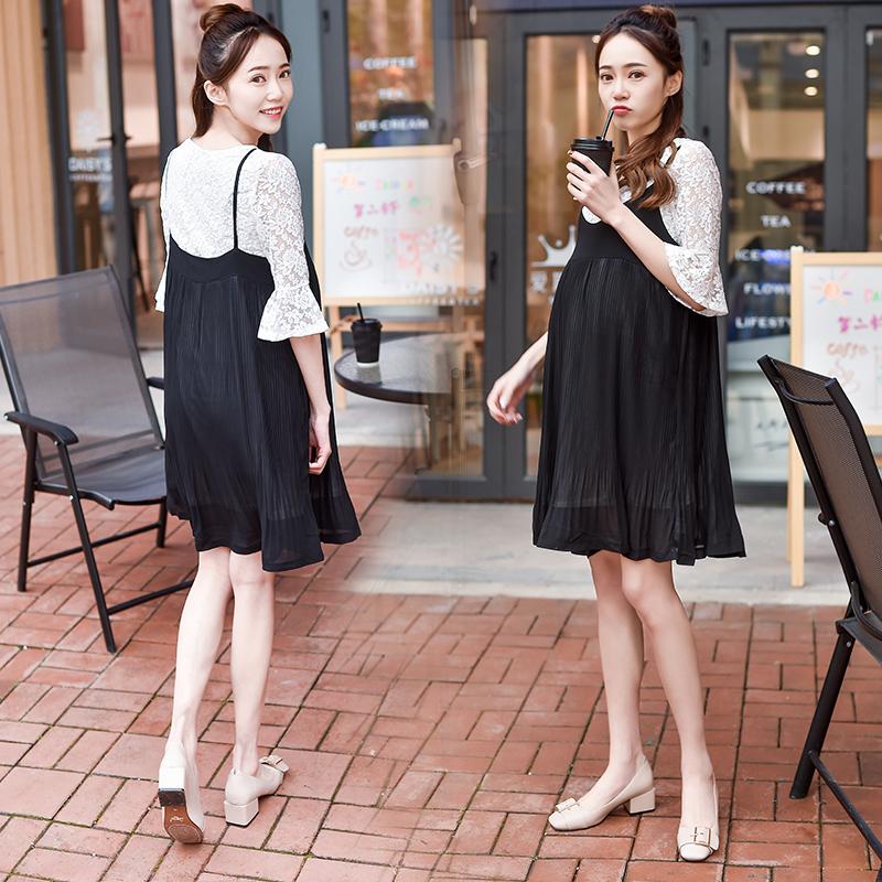 孕妇吊带两件套连衣裙时尚宽松夏季套装裙子