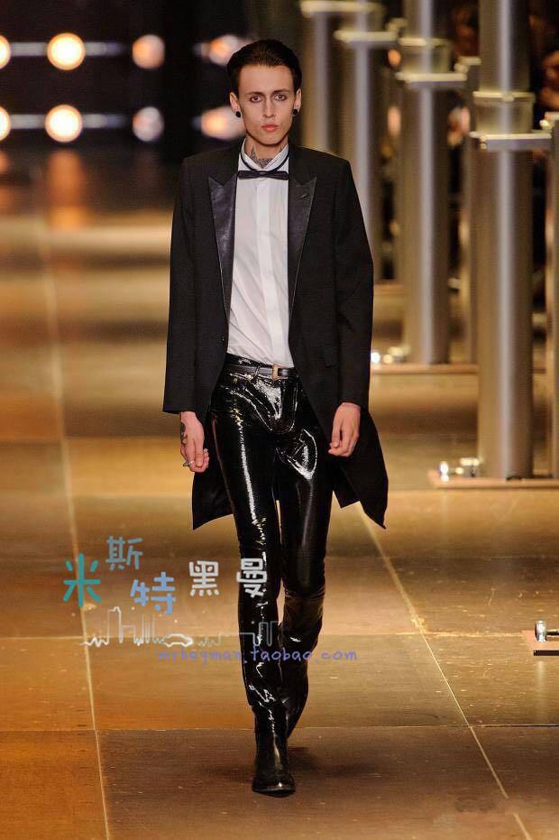 SLP同款秋冬新款男装 PU拼接领长西服gd演出款中长款修身西服