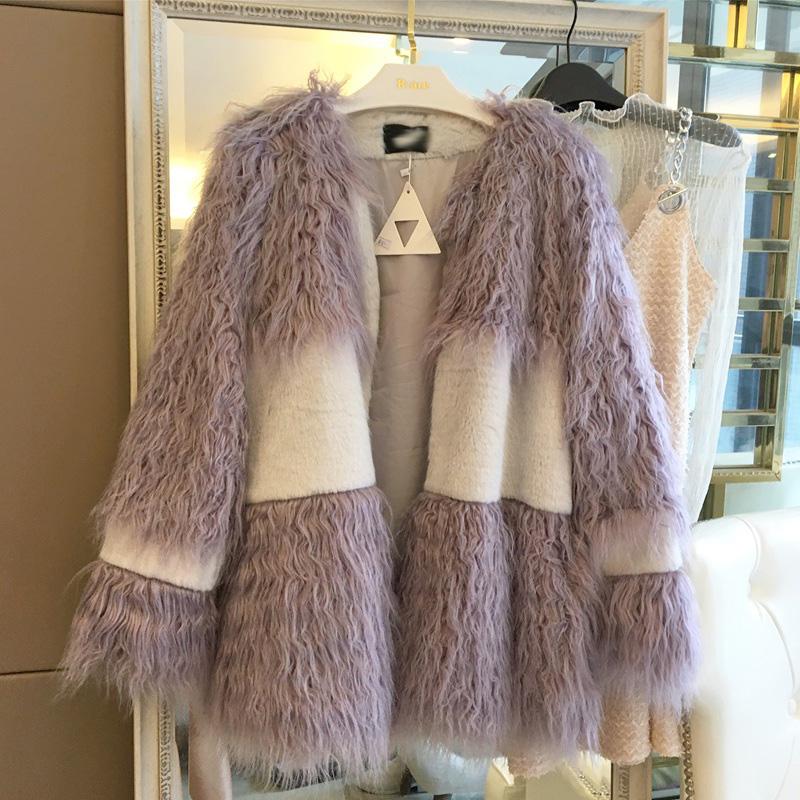 MS/蜜丝 2016冬季新款女装韩版仿羊毛拼接拼色中长款毛呢外套大衣