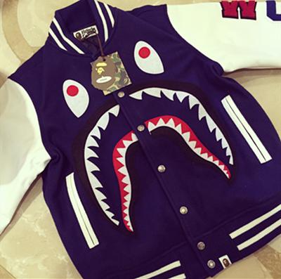 【现货】BAPE限量级皮袖鲨鱼夹克~