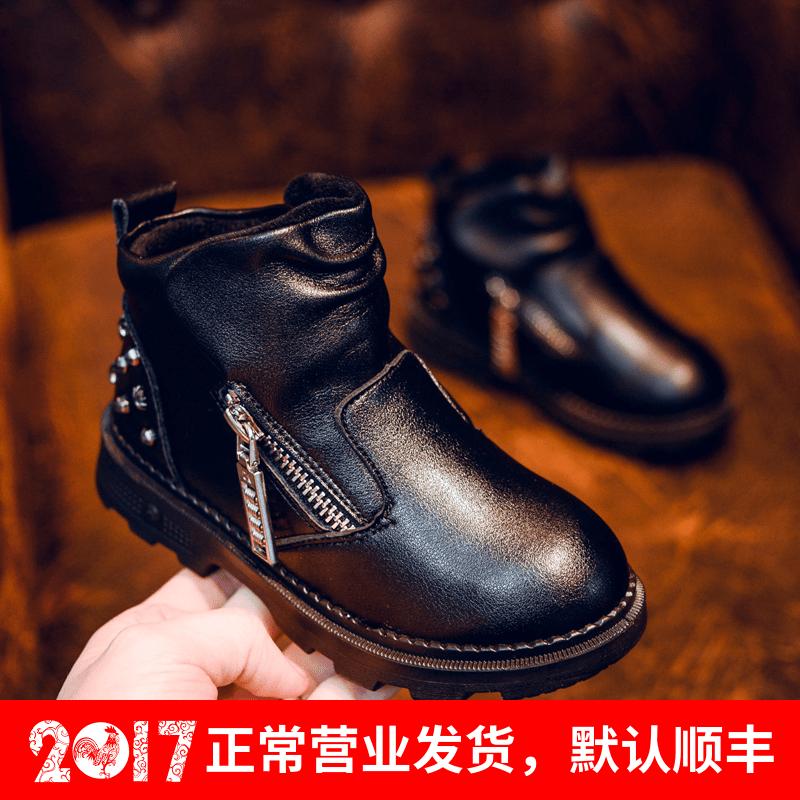 儿童大男童棉鞋2016新款真皮保暖加绒加厚冬季中大童防水马丁靴潮