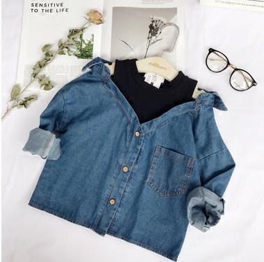 女童假两件衬衣 2017秋季新款儿童韩版牛仔假两件衬衫外套 潮款