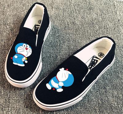 [明天涨价] 叮当猫哆啦A梦手绘鞋 懒人帆布鞋休闲鞋套脚一脚蹬学生平底鞋女鞋