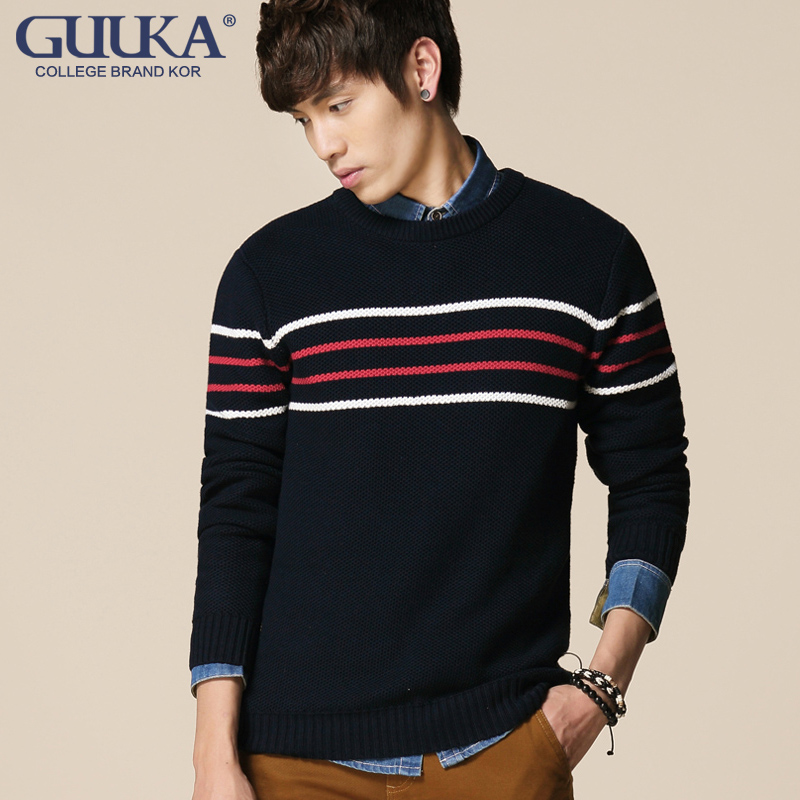 青年男装秋冬针织衫长袖毛衣加厚款圆领套头纯棉线衣外穿条纹撞色